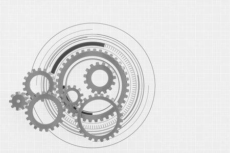 Mechanical gears and blueprint lines, 3d rendering. Computer digital drawing. Foto de archivo