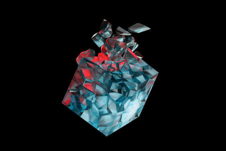 Cracked cube gem, destroyed cube rock, 3d rendering. Computer digital drawing.