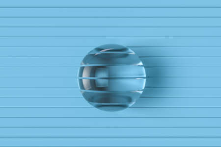 Sliced glass ball with blue background, 3d rendering. Computer digital drawing. 免版税图像