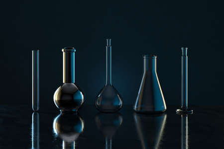 Chemistry glassware with dark background, 3d rendering. Computer digital drawing.