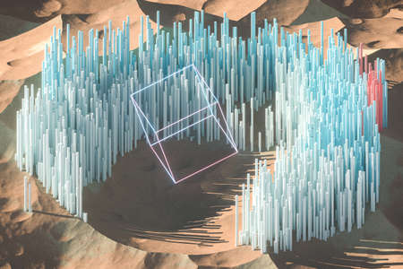 Scatter 3d cube materials on mountains terrain, 3d rendering. Computer digital drawing.