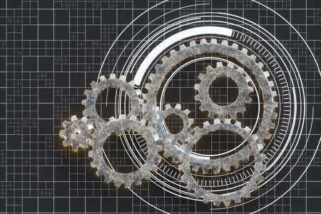 Mechanical gears and blueprint lines, 3d rendering. Computer digital drawing. 免版税图像
