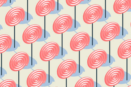 Candy pattern, pink lollipop with pale yellow background, raster illustration. Computer digital drawing. 免版税图像