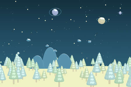 Cartoon trees, cartoon style forest, 3d cartoon rendering. Computer digital drawing.