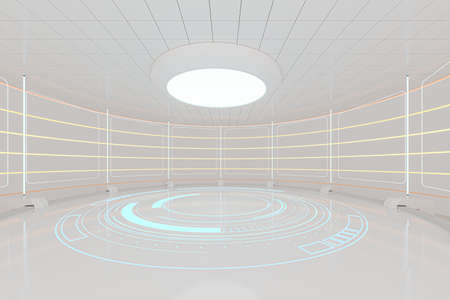 Creative round room, empty presentation room, 3d rendering. Computer digital drawing. 免版税图像