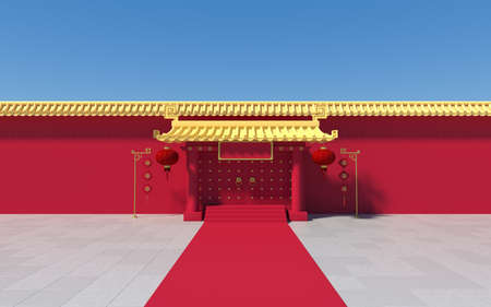 Chinese palace walls, red walls and golden tiles, 3d rendering.Translation: 'blessing'. Computer digital drawing. 免版税图像
