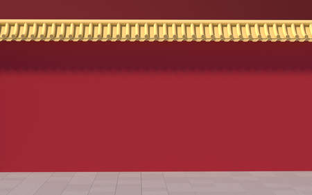 Chinese palace walls, red walls and golden tiles, 3d rendering. Computer digital drawing.