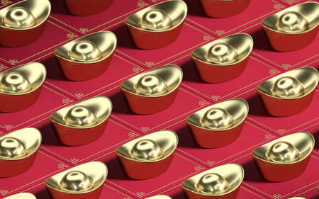 Chinese gold ingot with red background, 3d rendering. Computer digital drawing.