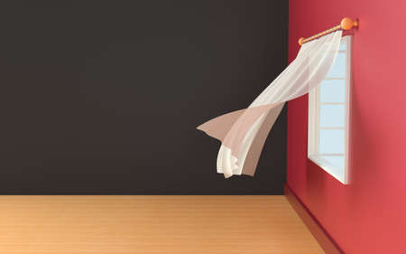 Empty room with blowing curtain, interior background, 3d rendering. Computer digital drawing.