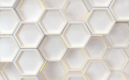 Hexagon geometric background, technology concept, 3d rendering. Computer digital drawing.