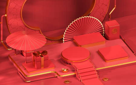 Empty showcase stage, Chinese style, 3d rendering. Computer digital drawing.