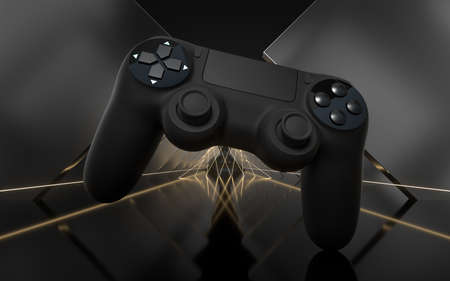Game pad with dark metal background, 3d rendering. Computer digital drawing. 版權商用圖片