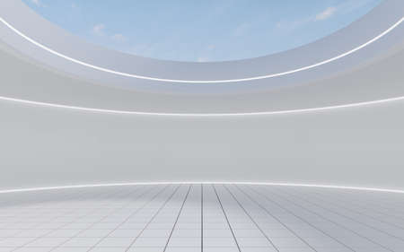Empty round room with skylight, 3d rendering. Computer digital drawing.