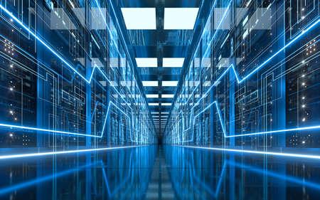 Server racks in computer network security server room data center, 3d rendering. Computer digital drawing.