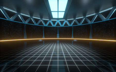 Empty round science fiction room, 3d rendering. Computer digital drawing. Imagens
