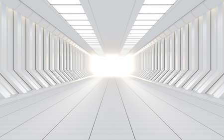 White science fiction tunnel, 3d rendering. Computer digital drawing.
