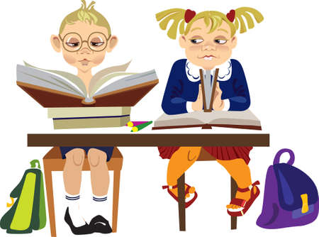 сhildren reading books in library Vector
