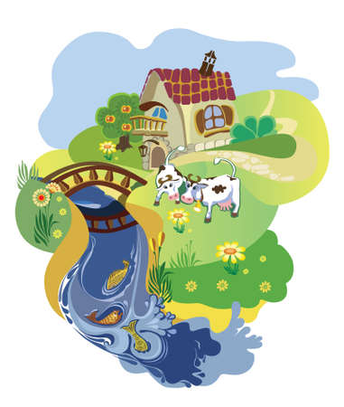 farmer cottage with cows on to the meadow at a pond Illustration