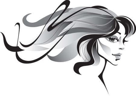 girl with windblown long hair Illustration