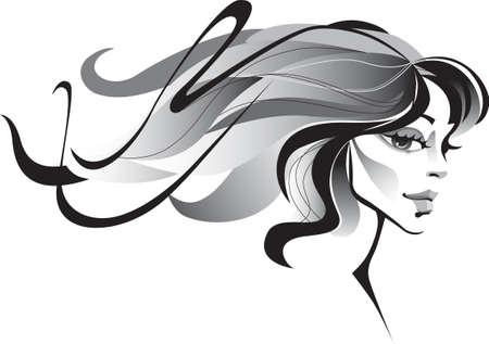 oeil dessin: vent fille avec les cheveux longs