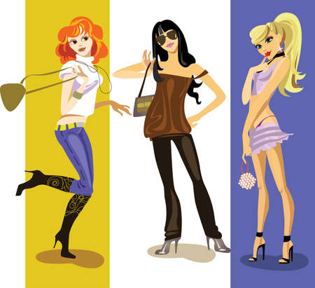 illustration of thre fashionable girls Illustration