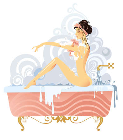 illustration of a woman bathing in a vintage bathtub Illustration
