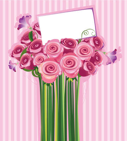bouquet of roses with a letter of congratulations Illustration