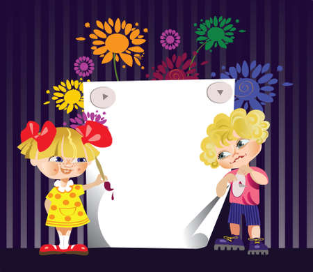 congratulatory card with boy and girl
