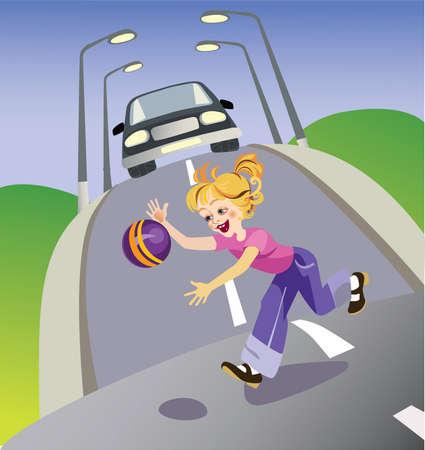 personas en la calle: ilustraci�n vectorial que representa a la ni�a con una pelota correr en carretera. Para la formaci�n de los ni�os a las normas de comportamiento en la calle Vectores