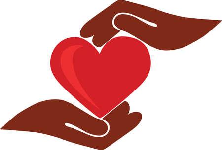 cuore nel le mani: Illustrazione creativa, due mani tenere cuore
