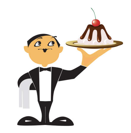 a waiter is a holding in a hand dish with a cake Illustration