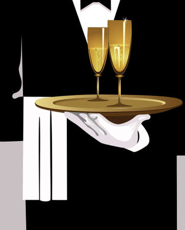 tuxedo: a waiter is a holding in a hand dish with champagne