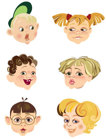 childrens faces in different expressions Illustration