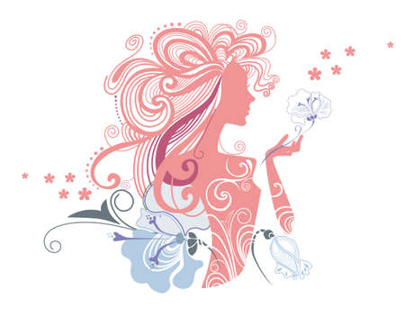 vector flowers: vector illustration of a decorative a silhouette of the girl and flowers Illustration
