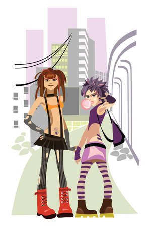 punk hair: vector image two girls in a city Illustration