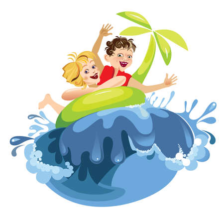 vector illustration of bathing children Illustration