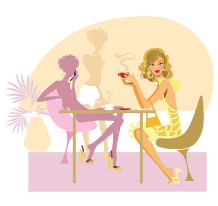 vector illustration of a woman in cafe