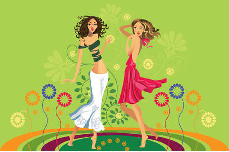 vector image of two girls on a glade with flowers