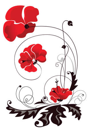 poppy leaf: decorative vector image of the red flowers