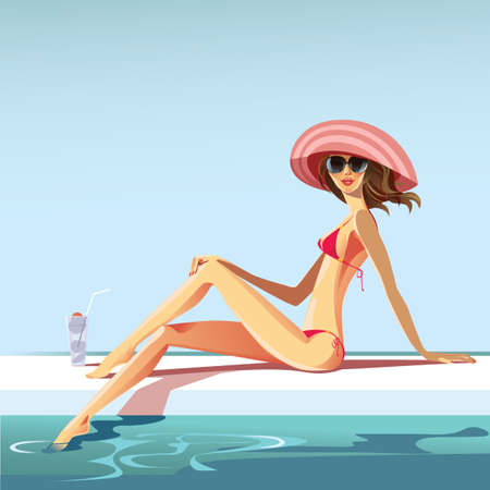 vector image of girl at swimming pool Illustration