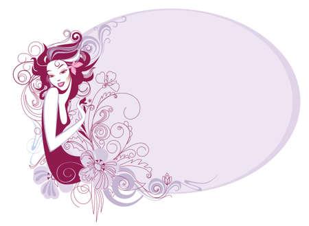 vectors abstract: ilustraci�n vectorial de un decorativos una silueta de la ni�a y las flores