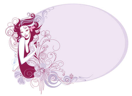 vector illustration of a decorative a silhouette of the girl and flowers Illustration