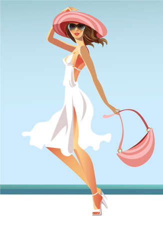 vector image of the woman in a white dress Illustration