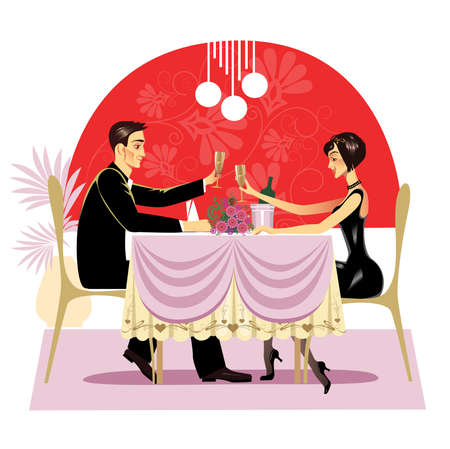 vector image of the man and the woman at restaurant