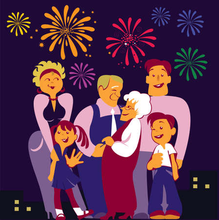 vector image of the happy family Illustration