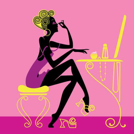productos de aseo: la silueta de la mujer de dibujos animados de moda en art�culos de tocador de la ma�ana