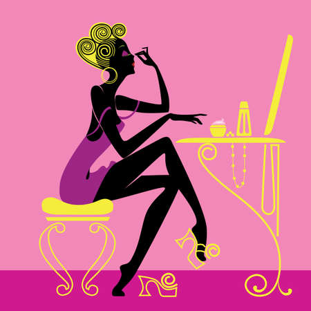 silhouette of fashionable cartoon woman in morning toiletries Vector