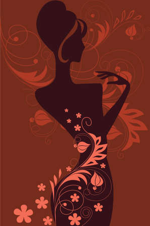 cheerfully: silhouette of the woman