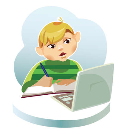 boy behind the computer Illustration
