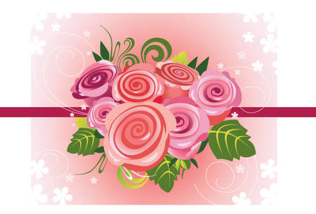 beautifully: illustration of bouquet of roses Illustration